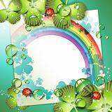 Sheet of paper with rainbow and clover