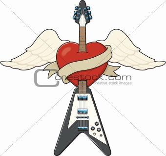 Tattoo Style Guitar Illustration