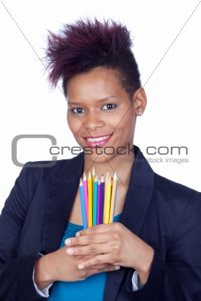 African girl with pencil colored