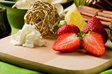 Strawberry Dessert on Cutting board