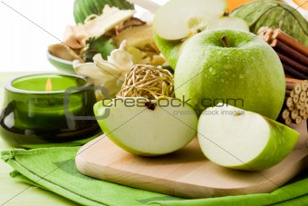 Green Apple Dessert on Cutting board