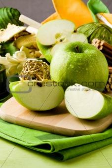 Green Apple Dessert on Cutting board