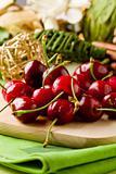 Cherry Dessert on cutting board