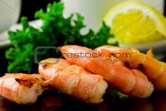 Grilled Prawns on black background