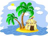 vector two palm trees and hut on an island in the ocean