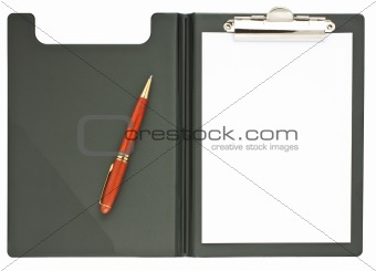 blank black clipboard with a wooden pen