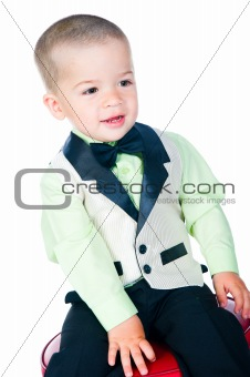Little boy on the business suit