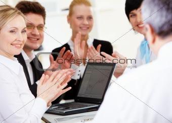Applauding people