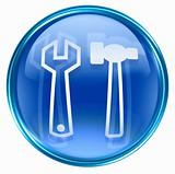 Tools icon blue, isolated on white background