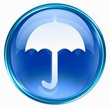 Umbrella icon blue, isolated on white background