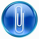Paper clip icon blue, isolated on white background