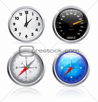 Clock, speedometer and compass set