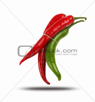 Bright red and bright green chilli pepper