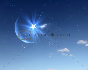 muslim star and moon on blue sky