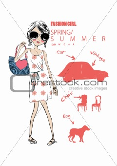 shopping illustration girl on a street