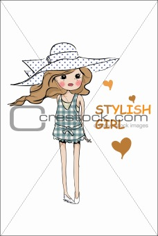 shopping illustration girl with hat