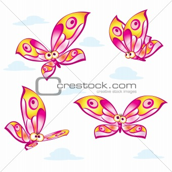 Cartoon colorful butterflies