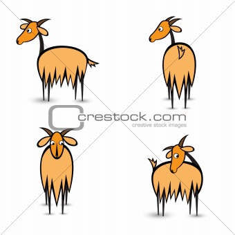 Abstract four goats in different positions
