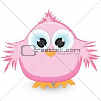 Cartoon pink sparrow