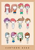 illustration girls cartoon  playing children