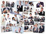 Collage of businessmen toasting and drinking champagne