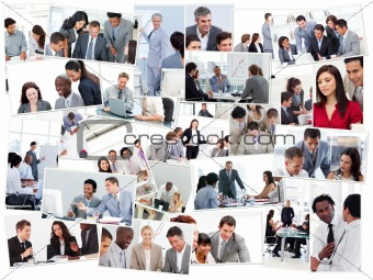 Collage of businessmen in meetings