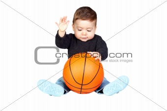 Beautiful baby with a basketball