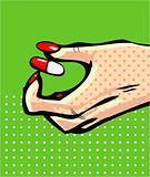 Hand icon with capsule pill symbol in comic style