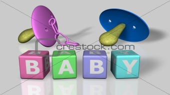 Baby and boy words and a pacifier