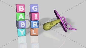Baby and girl words with a pacifier