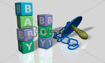 Baby and boy words with a pacifier