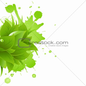 Green Blot And Leaves With Grass