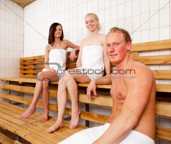 Friends Portrait in Sauna
