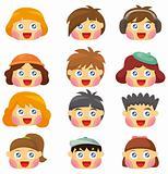 cartoon kid face icon