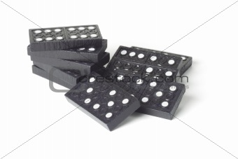 Black wooden domino blocks