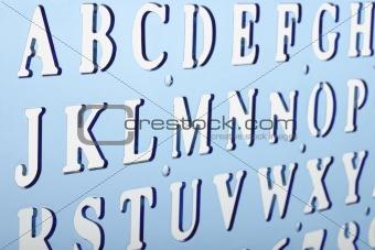 Backlit plastic alphabet stencil