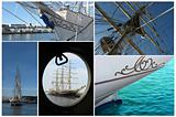collection of view of different parts of sailboat