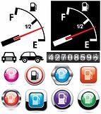 vector illustration of gas gauge and icons of petrol station