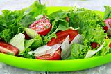 fresh spring salad with tomatoes and green salad