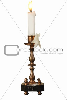 Candlestick ancient with a candle