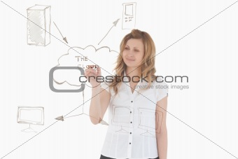 Attractive woman making a scheme looking towards the camera