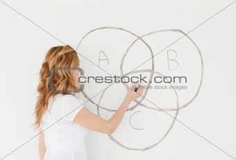 Blond-haired teacher drawing a scheme on a white board