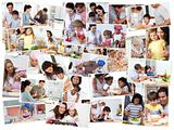 Collage of adults cooking with their children