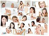 Collage of cute women doing their makeup