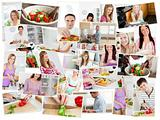 Collage of young adults cooking alone