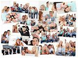 Collage of groups of young people having fun together