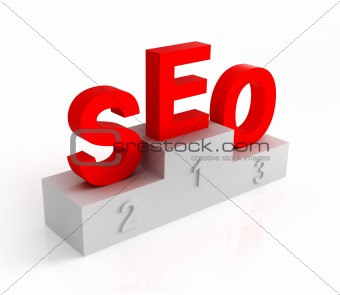 letters SEO on the pedestal