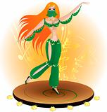 dancing woman in a green