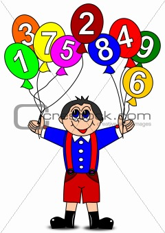 Boy and colorful inflatable balls with numbers