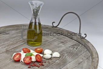 Tomato and mozzarella with olive oil